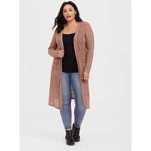 Torrid Tan Cable Stitched Duster Cardigan 3X